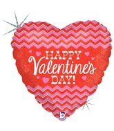 "18"" Holographic Balloon Chevron Valentine"