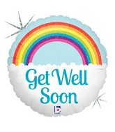 "18"" Holographic Balloon Packaged Get Well Soon Rainbow"