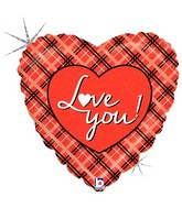 "18"" Holographic Balloon Packaged Love You Plaid"