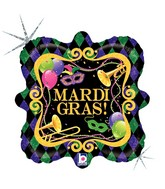 "18"" Square Holographic Balloon Mardi Gras Party"