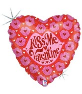 "9"" Airfill Only Holographic Balloon Kiss Me Valentine"