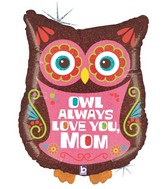 "26"" Holographic Balloon Packaged Owl Always Love Mom"
