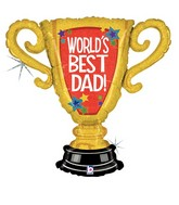 "33"" Holographic Shape Balloon World&#39s Best Dad Trophy"