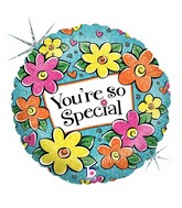 "18"" Holographic Balloon Floral You're So Special"