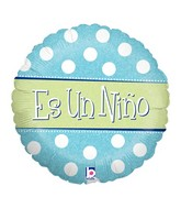 "18"" Holographic Balloon Packaged Es un Niño - Polka"