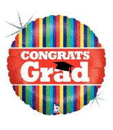 "18"" Holographic Balloon Congrats Grad Multi Stripes"