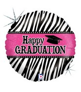 "18"" Holographic Balloon Graduation Zebra Stripes"