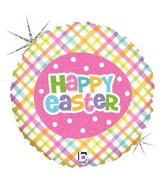 "18"" Holographic Balloon Springtime Easter Plaid"