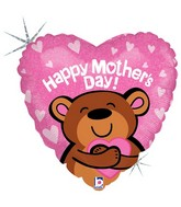 "18"" Holographic Balloon Big Hug Mother&#39s Day Bear"