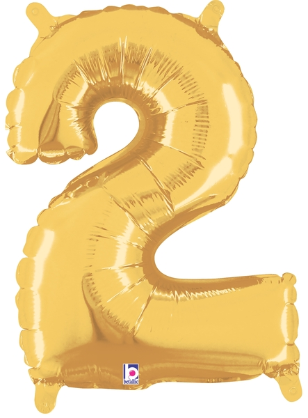 "7"" Airfill (requires heat sealing) Number Balloon 2 Gold"