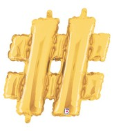 "14"" Valved Air-Filled Shape Hashtag Gold Balloon"