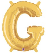 "14"" Valved Air-Filled Shape G Gold Balloon"