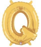 "14"" Airfill (requires heat sealing) Letter Balloon Q Gold"