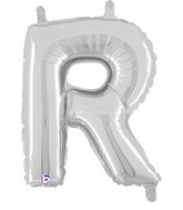 "14"" Valved Air-Filled Shape R Silver Balloon"