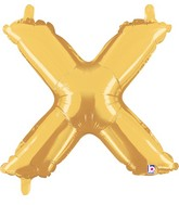 "14"" Airfill (requires heat sealing) Letter Balloon X Gold"