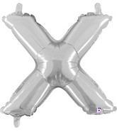 "14"" Airfill (requires heat sealing) Letter Balloon X Silver"