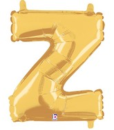 "14"" Airfill (requires heat sealing) Letter Balloon Z Gold"