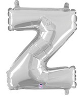 "14"" Airfill (requires heat sealing) Letter Balloon Z Silver"