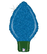 "22"" Holographic Shape Balloon Glittering Lightbulb Blue"