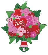 "38"" Foil Balloon Valentine Flower Bouquet"