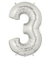 "7"" Airfill (requires heat sealing) Number Balloon 3 Silver"