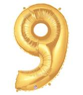 "7"" Airfill (requires heat sealing) Number Balloon 9 Gold"
