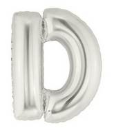 "7"" Airfill (requires heat sealing) Letter Balloons D Silver"