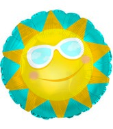 "12"" Sun With Glasses Round Foil Balloon"