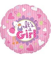 "9"" It's A Girl Stork Self Sealing Valve Foil Balloon"