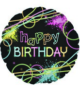 "18"" Neon Party Happy Birthday Foil Balloon"