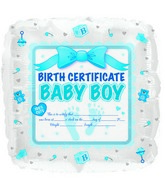 "18"" Baby Boy Birth Certificate Foil Balloon"