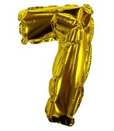 "8"" Gold #7 Shape Self Sealing Valve Foil Balloon"
