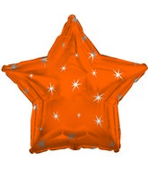 "18"" Orange Sparkle Star Foil Balloon"