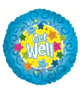 "18"" Get Well Blue Foil Balloon"