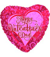 "18"" Happy Valentine&#39s Day Pink Lace on Red"