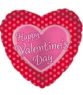 "18"" Happy Valentine&#39s Day Balloon Pink Polka Dots"