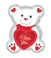 "12"" Airfill Only I Love You White Bear Balloon"