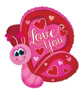 "12"" Airfill Only Love You Flutterfly Butterfly Balloon"
