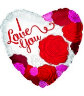 "17"" I Love You Big Roses Foil Balloon"