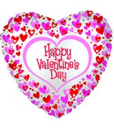 "17"" Happy Valentine&#39s Day Dancing Hearts Foil Balloon"