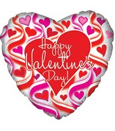 "17"" Happy Valentine&#39s Day Wavy Hearts Foil Balloon"