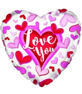"18"" Love You Stitched Hearts Foil Balloon"