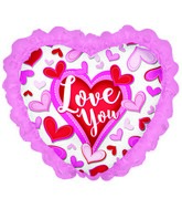 "14"" Airfill Only Happy Valentine&#39s Day Chevron W/Ruffle"