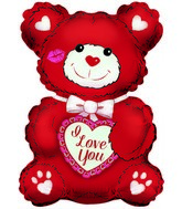 "12"" Airfill Only I Love You Red & White Teddy Shape"