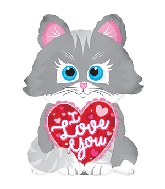 "10"" Airfill Only I Love You Cat Balloon"