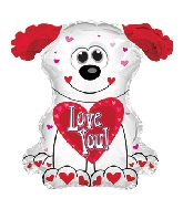 "12"" Airfill Only Love You Red and White Doggie Balloon"