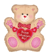 "31"" Happy Valentine&#39s Day Tan Teddy Balloon"