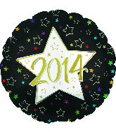 "9"" 2014 Gold Type Star Mylar Balloon"