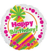 "17"" Happy Birthday Day Neon Party Hat Packaged"