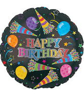 "17"" Rainbow Happy Birthday Day Party Horns Balloon"